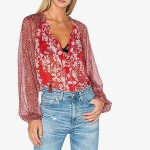 FREE PEOPLE S floral Hendrix top red sheer NEW